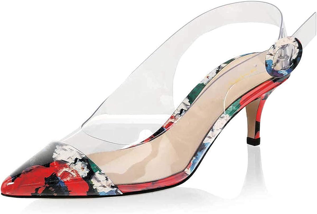 XYD Women Transparent Slingback Mid Heels Brand new Leather Patent Kitten Sacramento Mall