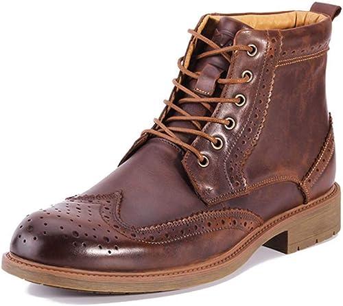 QINGMM Hommes Martin Bottes Brogue Chaussures en Cuir en Plein air Bottes Hautes décontractées