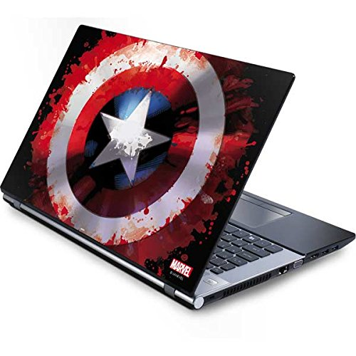 Skinit Decal Laptop Skin Compatible with Generic 13in (12.803in w X 8.996in h) Laptop - Officially Licensed Marvel/Disney Captain America Shield Design