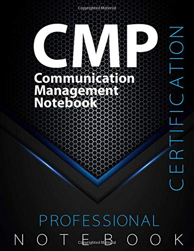 """CMP Notebook, Communication Management Certification Exam Preparation Notebook, 140 pages, CMP examination study writing notebook, Dotted ruled/blank ... 8.5"""" x 11"""", Glossy cover pages, Black Hex"""