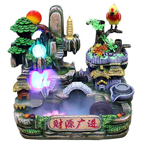 Tabletop Fountain, Zen Meditation Indoor Waterfall Simulation Rockery Water Fountain Bonsai Desktop Ornament Home Decor with LED Colorful Light, Best Feng Shui Gift for Office Bedroom Relaxation(US)