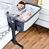 LuckyDove Baby Bassinet,Bedside Sleeper for Baby,Baby Bedside Crib for New Born,Easy Folding Portable Crib,6 Adjustable Co-Sleeper with Soft Mattress/Travel Bag,Built-in Wheels (Grey)