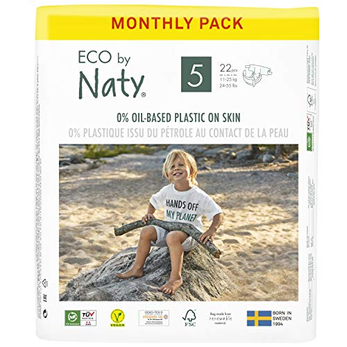 Eco by Naty, Größe 5, 132 Windeln, 11–25 kg, MONATSVORRAT, pflanzliche Premium-Bio‑Windeln mit 0% Plastik auf der Haut.