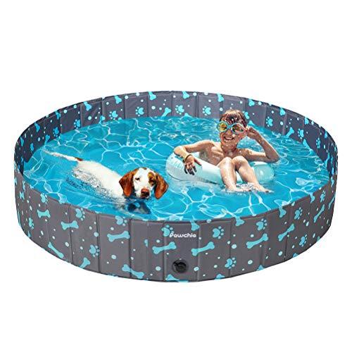 PAWCHIE Dog Paddling Swimming Pool, Foldable Dog Bath Playing Pool Paw...