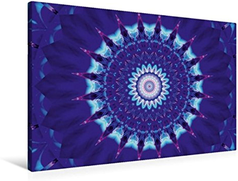 Calvendo Premium Textil-Leinwand 90 cm x 60 cm quer, Mandala Blauer Stern   Wandbild, Bild auf Keilrahmen, Fertigbild auf echter Leinwand, Leinwanddruck Glaube Glaube