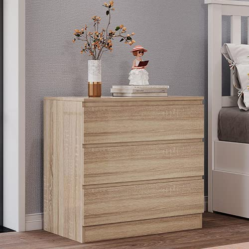 Panana Wooden 3/4/5/6 Chest of Drawers with Metal Runners Modern Bedside Storage Cabinet for Living Room Hallway Bedroom (Oak Effect, 3 Drawer Chest)