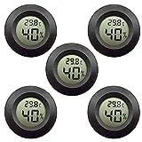 5er-Pack LCD Digital Hygrometer Thermometer, Innen-Außenfeuchtemessgerät Temperaturmesser für Luftbefeuchter Luftentfeuchter Gewächshaus Keller Babyzimmer, schwarz rund