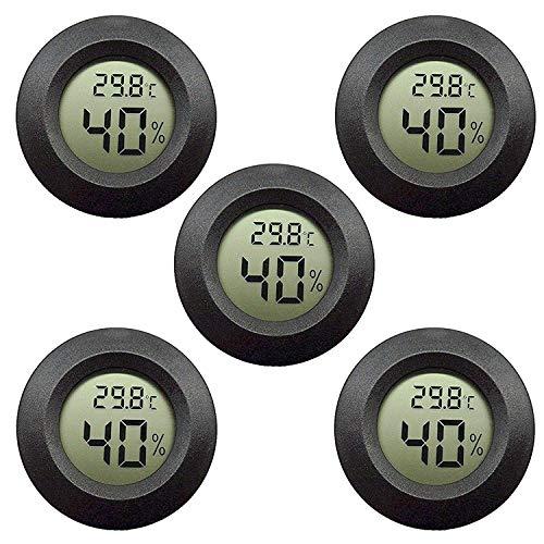 EEEKit Igrometro Termometro Monitor LCD Digitale per Interni Misuratore di umidità per umidificatori Deumidificatori Serra Seminterrato Babyroom, Black Round (5-Pack)