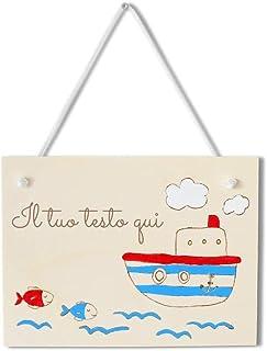 Targa personalizzabile in legno tema mare con nave