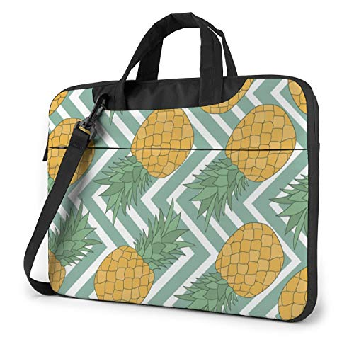 Fresh Fruits,White and Blue Striped Pineapple Laptop Bag Case Sleeve Briefcase Computer Organizer for Women Men 14'