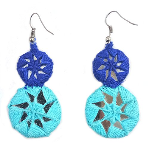 India Meets India Handicraft Crafted Bohemian Drop Dangle Crochet Earrings with Big Round Mirror Tribal Fashion Jewellery For Womens & Girl'S - Turquoise Blue