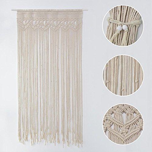 Morningtime Macrame Wandbehang Vorhang Tapisserie Baumwolle gewebt handgewebte böhmische Hochzeit Hintergrund für Fenstervorhänge Türvorhänge Home Decoration (C: 90 * 180cm)