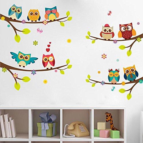ufengke Pegatinas de Pared Búhos Coloridos en Ramitas de Árbol Adhesivos Vinilos Pared Dibujos Animados Decorativos para Dormitorio Sala de Estar Cuarto de Juegos Niños