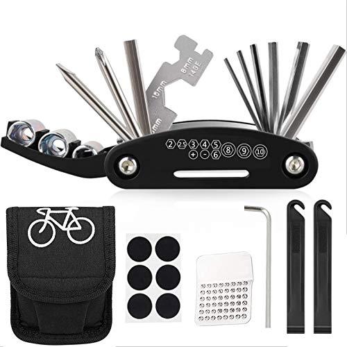 Huahuanghui Fahrrad-Multitool 27 STK Praktisches Fahrrad Werkzeug Reparatur Set 16 in 1 Werkzeuge für Fahrrad Reparatur Set mit Tasche, Flickzeug Fahrradflickzeug Reparaturset Multifunktionswerkzeug
