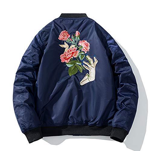 Qier Bomberjacke Männer Dicker Baseballmantel, Rose Bestickte Dunkelblaue Hip Hop Outwear, Reißverschluss Lässige Streetwear Frühling Herbst Jugend Paar Frauen, L.