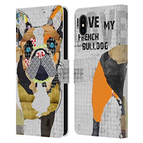 Head Case Designs Officially Licensed Michel Keck French Bulldog Dogs 4 Leather Book Wallet Case Cover Compatible with Apple iPhone Xs Max