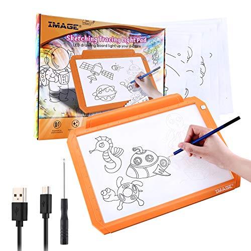 IMAGE A4 Leuchttisch LED Zeichbrett dimmbares Light Pad mit USB Kabel batteriebetriebener Leuchtkasten mit Drucktaste Copyboard für Kinder (Orange)