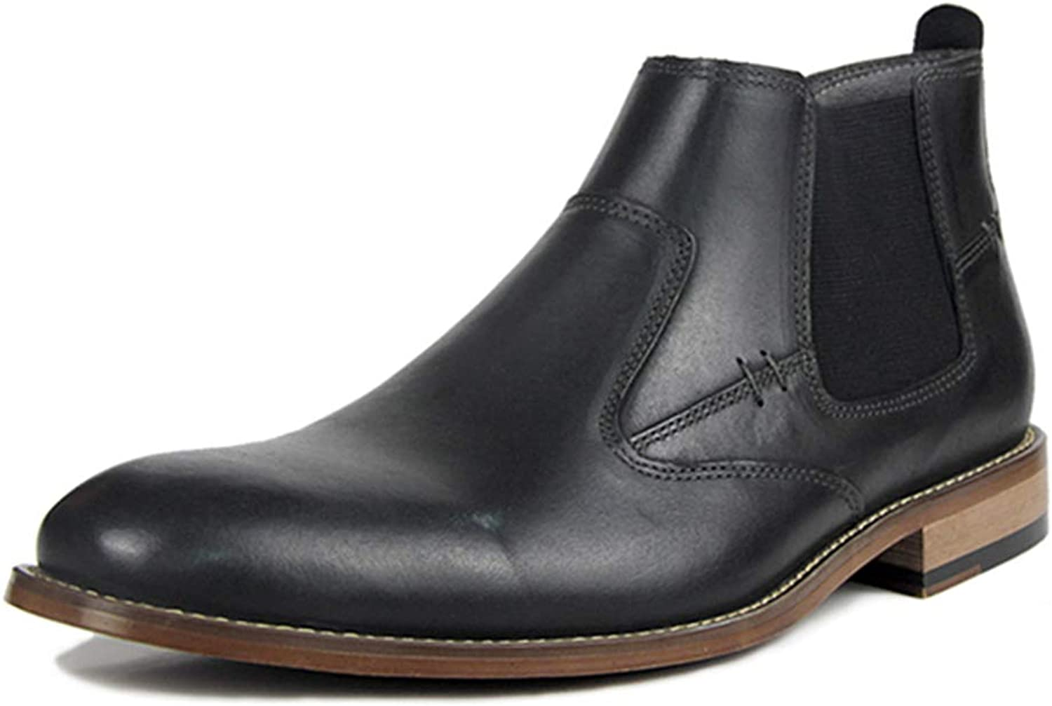JITIAN Mens Chelsea Boots Leather Ankle Boots Winter Slip-on Male Short Boots Pointed Toe Winter Boots in Black Dark Brown