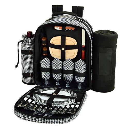 Picnic at Ascot - Deluxe ausgestatteter Picknick-Rucksack für 4 Personen mit Kühler, isoliertem Weinhalter und Decke – Hahnentritt
