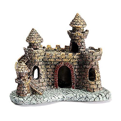 XinXinFeiEr Hermoso Ornamento del Acuario Antiguo Castillo de la Torre del Tanque de Pescados del Paisaje decoración de la Resina (Color : Castle, Size : As Shown)