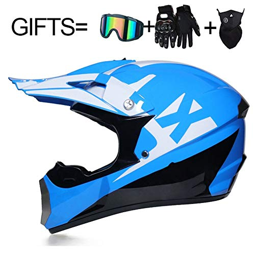 3 Geschenke for Kinder Motorrad-Sturzhelm Off Road Helm AM DH Downhill Bike Motocross Helm DOT Racing Motocross-Helm (Farbe : 15, Size : L)