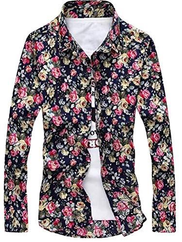 [アスペルシオ] 長そで 花がら カラフル 柄シャツ メンズ 長袖 花柄 花柄シャツ フラワー ドレスシャツ カフス ボタン お兄系 派手 シャツ ハデ アロハ アロハシャツ かりゆし かりゆしウェア ボタンダウン 開襟 和柄 わがら ボタニカル カジュア