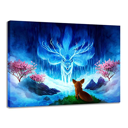 CLOTIME Canvas Prints with Fairy Fox Fantasy Space Paintings Animal Wall Art Pictures for Living Room Home Decor Decoration No Framed