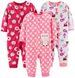 Simple Joys by Carter's Girls' 3-Pack Loose Fit Flame Resistant Fleece Footless Pajamas, Superhero/Donut/owl, 18 Months