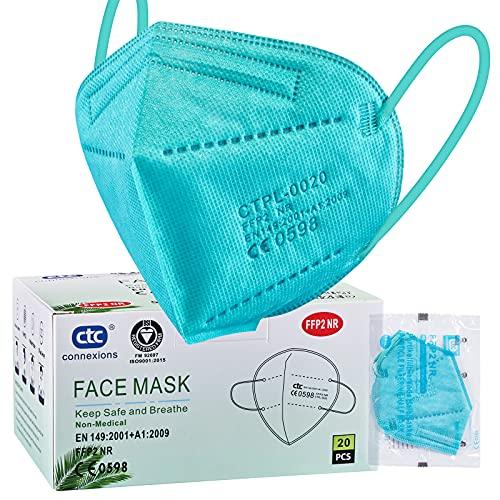 ctc connexions 20Skt FFP2 Maske, 5-Lagige Staubdichte Grün Maske, CE 0598 Zertifizierung EN149:2001+A1:2009, Jeweils Einzeln Verpackt
