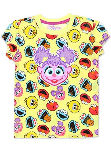 Sesame Street Abby Cadabby Toddler Baby Girls Short Sleeve Tee (4T, Yellow/Multi)