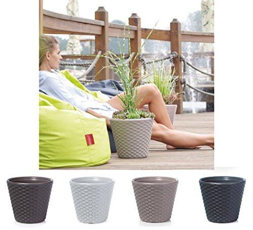 Pot de fleurs rond style rotin - Balcon, Jardin, Terrasse