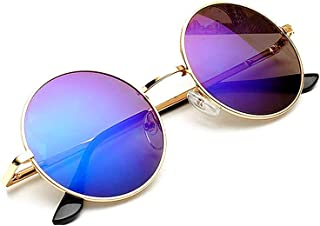 KATCOCO Hippie Sunglasses WITH CASE Retro Classic Circle Lens Round Sunglasses Steampunk Colored