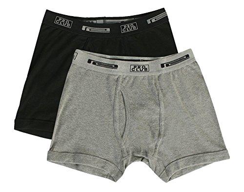 Pro Club Men's 2-Pack Comfort Soft Cotton Boxer Brief, Black/Heather Grey, XXX-Large
