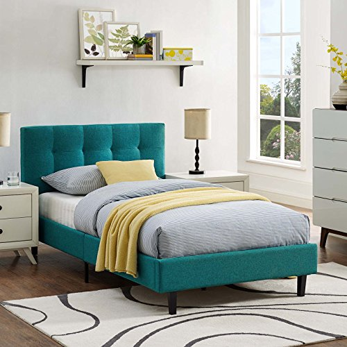 Modway MOD-5422-TEA Linnea Upholstered Platform Bed with Wood Slat Support in Twin, Teal