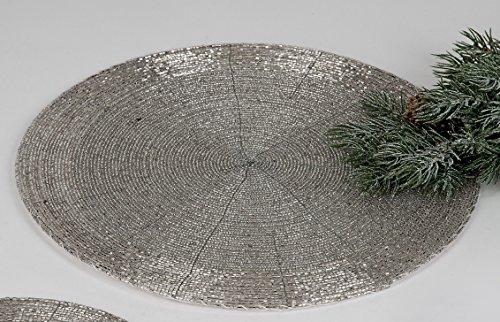 Formano Untersetzer Platzset 2 x 20 cm aus silbernen Perlen mit Kratzschutz auf der Unterseite (20 cm - 2 Stück)