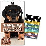 Familienplaner 2021 – HUNDE | 5 Spalten | Wandkalender: 23x43cm | Familienkalender Extras: 228 praktische Sticker, Ferien 2021/22, Pollen-, Obst- & Gemüse-, Jahreskalender, Vorschau bis März 2022