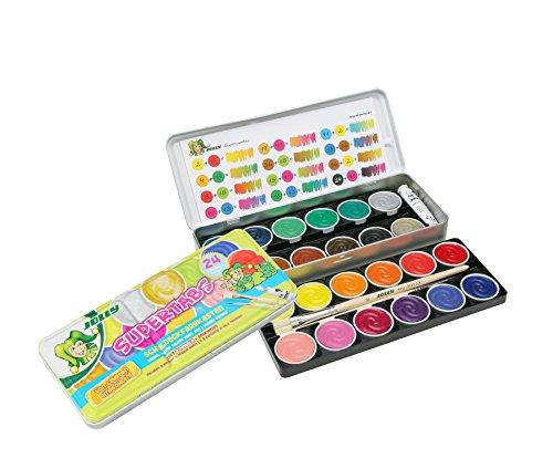 Jolly Supertabs | Deckfarbkasten, Farbkasten | 24 Farben inkl. zwei Pinsel und Deckweiß im Metalletui