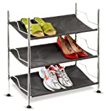 Honey-Can-Do SHO-01818 Shoe Rack, Canvas, 3 Tier