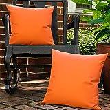 Lewondr Taie d'Oreiller Extérieure[Lot de 2], Housse de Coussin de Jardin Protection anti-UV Revêtement Coussin CarréImperméable en PU Revêtement pour Patio Sofa Canapé Balcon 18'x18'(45x45cm)-Orange