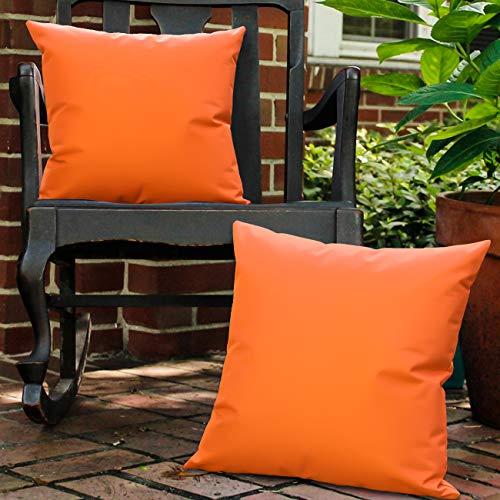 Lewondr Taie d Oreiller Extérieure[Lot de 2], Housse de Coussin de Jardin Protection anti-UV Revêtement Coussin CarréImperméable en PU Revêtement pour Patio Sofa Canapé Balcon 18 x18 (45x45cm)-Orange