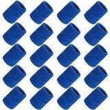 ZWOOS 20 Piezas Muñequeras Deportivas, Muñequera Deportiva Pulsera para Hombres y Mujeres, Running Deportes Atléticos, Baloncesto, Bádminton (Azul Oscuro)
