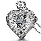 Reloj de Bolsillo Collar con Colgante Estilo corazón con medallón en Tono Plateado...