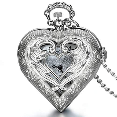 Reloj de Bolsillo Collar con Colgante Estilo corazón con medallón en Tono Plateado Vintage con Cadena de 30 Pulgadas