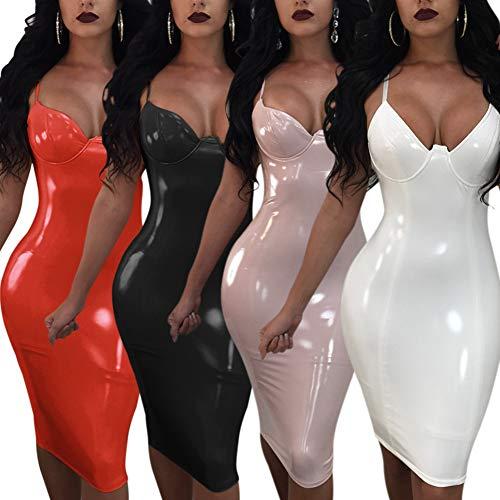 LOVEXIN Catsuit-Overall aus 100% Latex für Damen mit Knöpfen und Reißverschluss Latex 100% Gummi Catsuit Kleid erotische Kostüm Kleid,Weiß,M