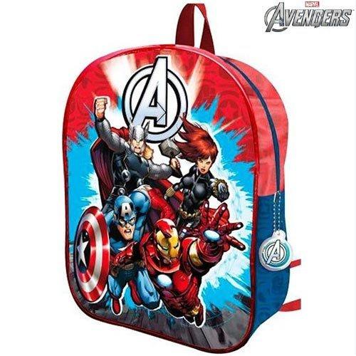 BAKAJI Zaino Scuola Asilo Elementare Zainetto 28 x 34 x 6 cm Marvel Avengers 3D Super Eroi