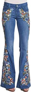 Pantalones Acampanados Bordados Casual Vaqueros Retro Ocios Cintura Alta Jeans de Mujer Ancho Pierna Elástica Slim Fit Hol...