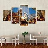 QQQAA Cuadros para Dormitorios Modernos Lienzo 5 Partes Nacimiento De La Natividad De Jesús Impresión Artística Grande Cuadro Pared Decorativos Salon Oficina Ideas Regalo