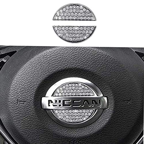 Steering Wheel Bling Crystal Emblem for Nissan, Shiny Accessories Parts Logo Sticker Badge Decals Covers Interior Decorations (Silver)