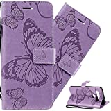 LEMAXELERS LG K51 Case PU Leather Phone Case Wallet Flip Butterfly Flower Embossed Case with Card Holder Shockproof Protective Cover for LG K51 Big Butterfly Light Purple KT