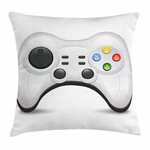 Lunarable Gamer-Kissenbezug, modernes Gamepad-Konzept mit bunten Action-Knöpfen mit Joysticks und D-Pad,...